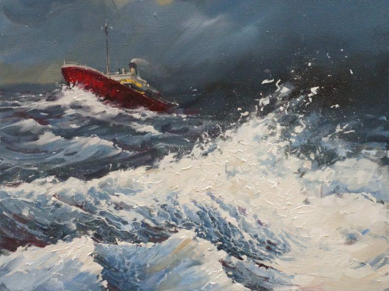Navire en mer déchaînée- 1350€